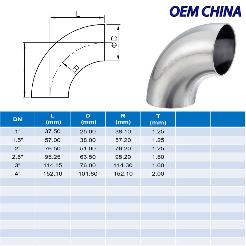 Elbow 90° Weld Ends ; SMS ; SS316/316L ; OEM-China