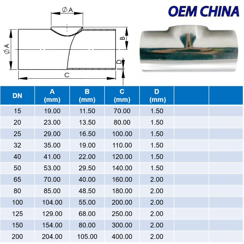 Equal Tee Weld Ends ; DIN11852-2 ; SS316/316L ; OEM-China