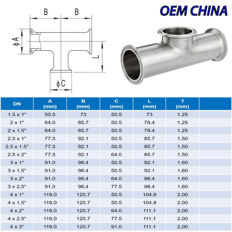 Reducing Tee Clamp Ends ; SMS ; SS316/316L ; OEM-China