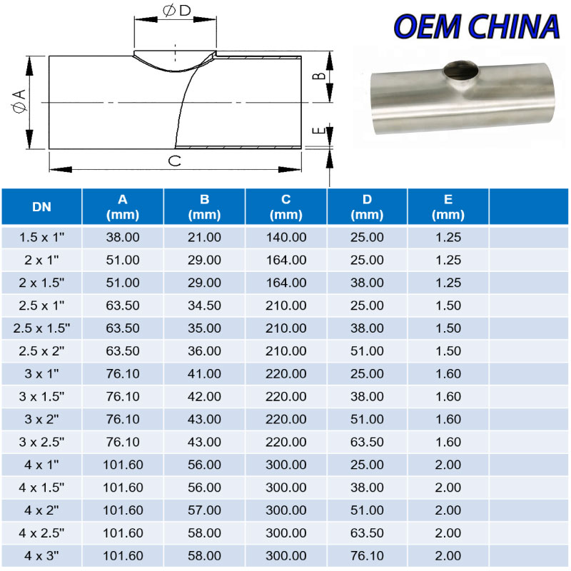 Reducing Tee Weld Ends ; SMS ; SS316/316L ; OEM-China