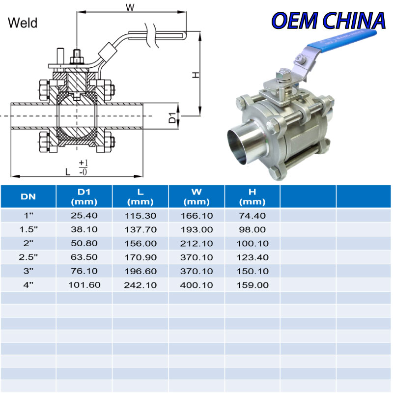 Hygienic Ball Valves ; 3Pcs Manual-Weld Ends ; SMS ; SS316/316L/EPDM ; OEM-China